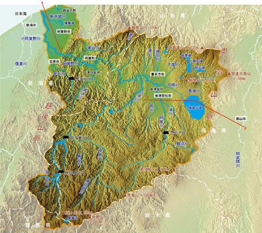 阿賀野川河川事務所-阿賀野川流域パンフレット-流域の地形