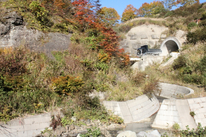 木や山などの自然と、人の手で作り上げた構造物を撮りました。山の中のトンネルをトラックが通っています。不思議な感覚です。