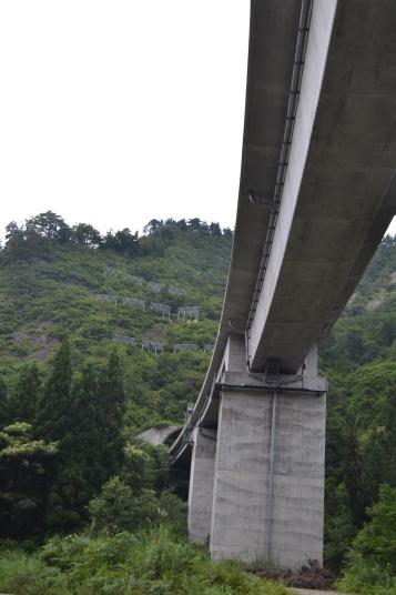 山深い場所に、突然現れた巨大な橋を撮りました。 写真で見るより圧倒的な大きさでした。
