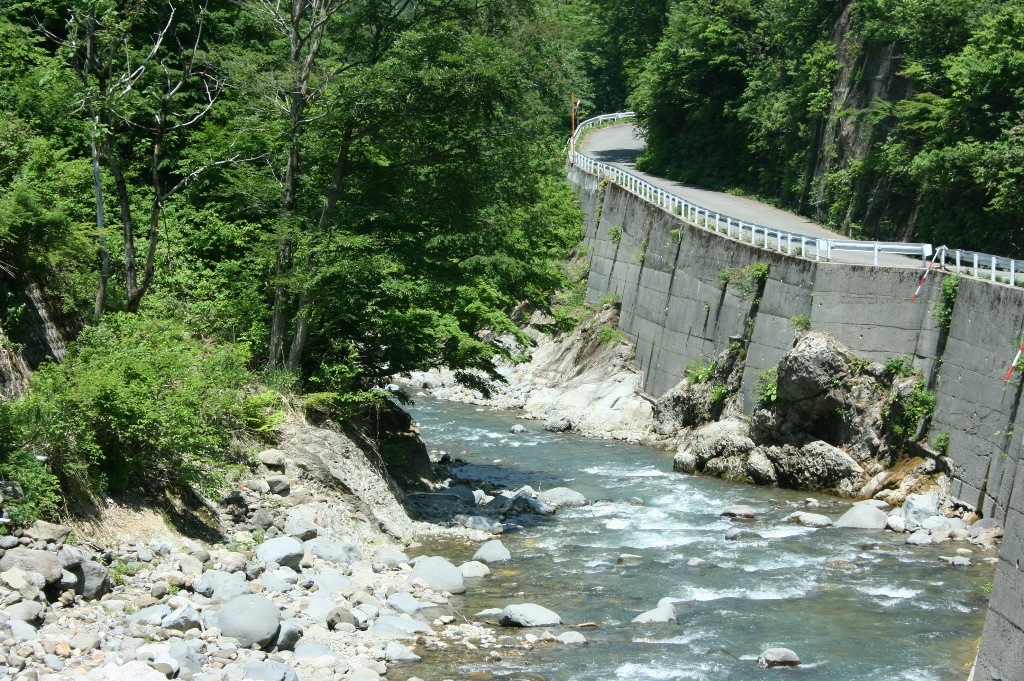 山というと木というイメージだったのですが、渓流と人工の作業道路との対比が不思議な感じでした。