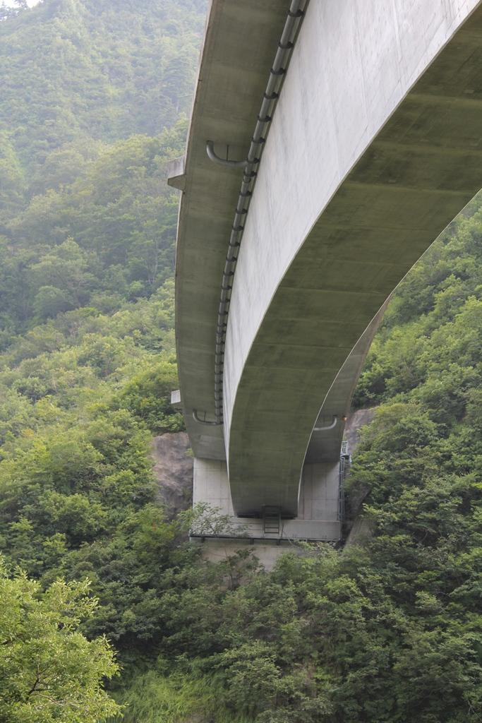 大きな橋脚をわざと外して撮影しました。山から突然、人工物が飛び出したような写真になりました。