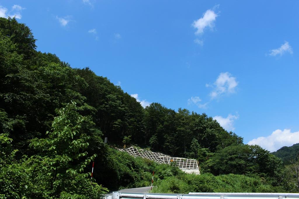 山の谷間から、夏空が見えました。緑と青のコントラストが印象的でした。