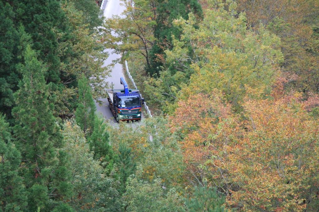 トラックが何かを運んでいます。 何を運んでいくのでしょうか? 山の道を進むトラックはどこへ行くのでしょうか?