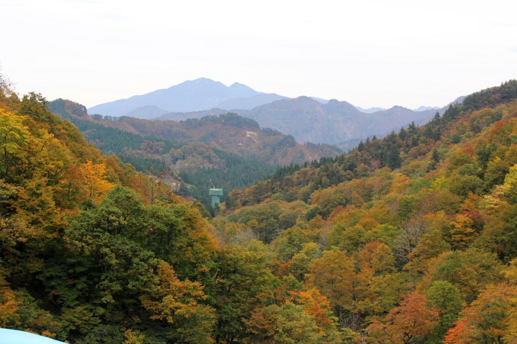 長い長いトンネルを抜けると、美しく紅や黄色に化粧した山が。 所々に残る緑色も綺麗でした。